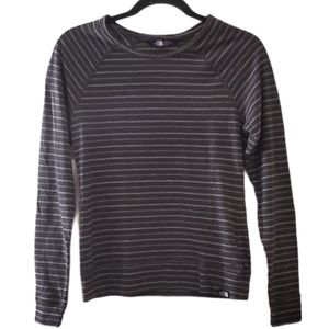 The North Face Grey Striped Long Sleeve Shirt XS